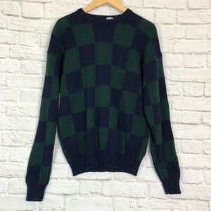 Vintage jos a bank checkered wool sweater